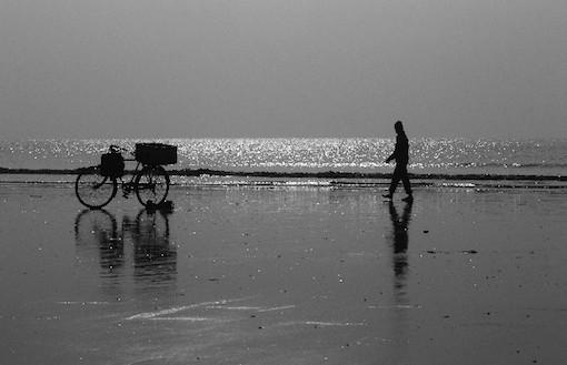 海岸と自転車と人