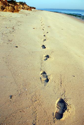 浜辺の足あと